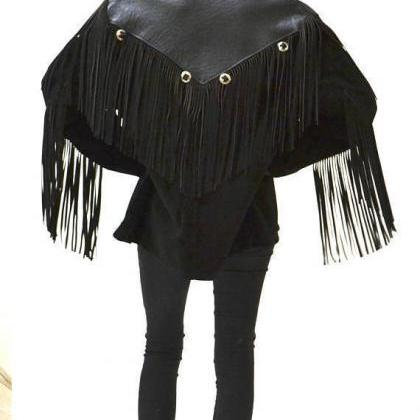 Handmade Women Black Western Leathe..