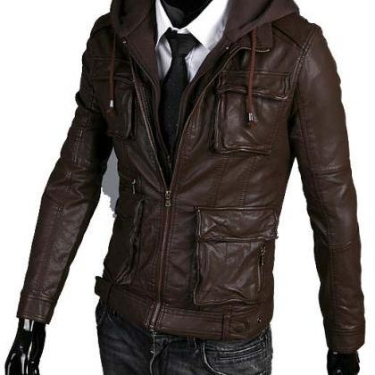 Handmade Custom New Men Hooded Slim..