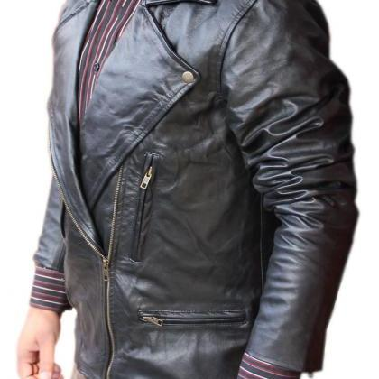 Men Brando Style Black Leather Jack..