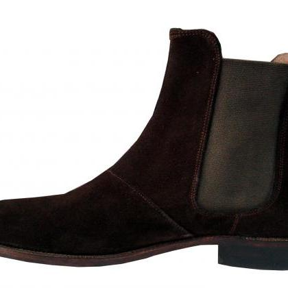 New Handmade Mens Dark Brown Chelse..