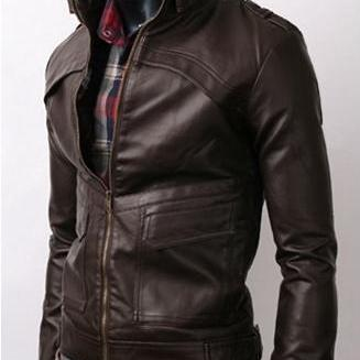 Handmade Custom New Men Front Unique Design Leather Jacket, men leather jacket, Leather jacket for men, Biker Leather Jacket, Motorcycle Jacket