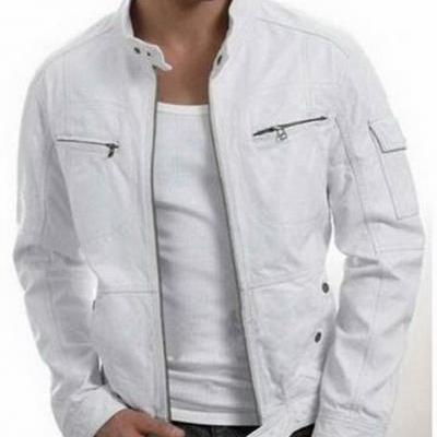 Handmade Custom New Men Unique White Leather Jacket, men leather jacket, Leather jacket for men, Biker Leather Jacket, Motorcycle Jacket