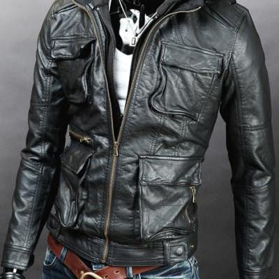 Handmade Custom New Men Hooded With Four Front Pockets Leather Jacket, men leather jacket, Leather jacket for men, Biker Leather Jacket, Motorcycle Jacket