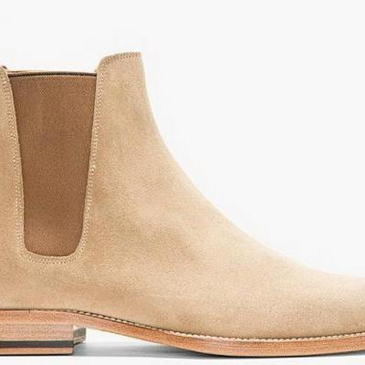 New Handmade Mens Beige Chelsea Suede Leather Boots, Men suede leather boot
