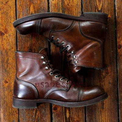 New Handmade Oxford Real Leather Brown Ankle Boots, Men fine leather boot