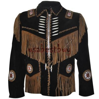 New Men Black and Brown Suede Leather Western Jacket With Fringe, Bone and Beads