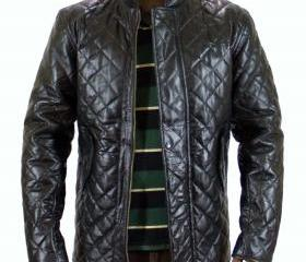 Men Black Quilted Le..
