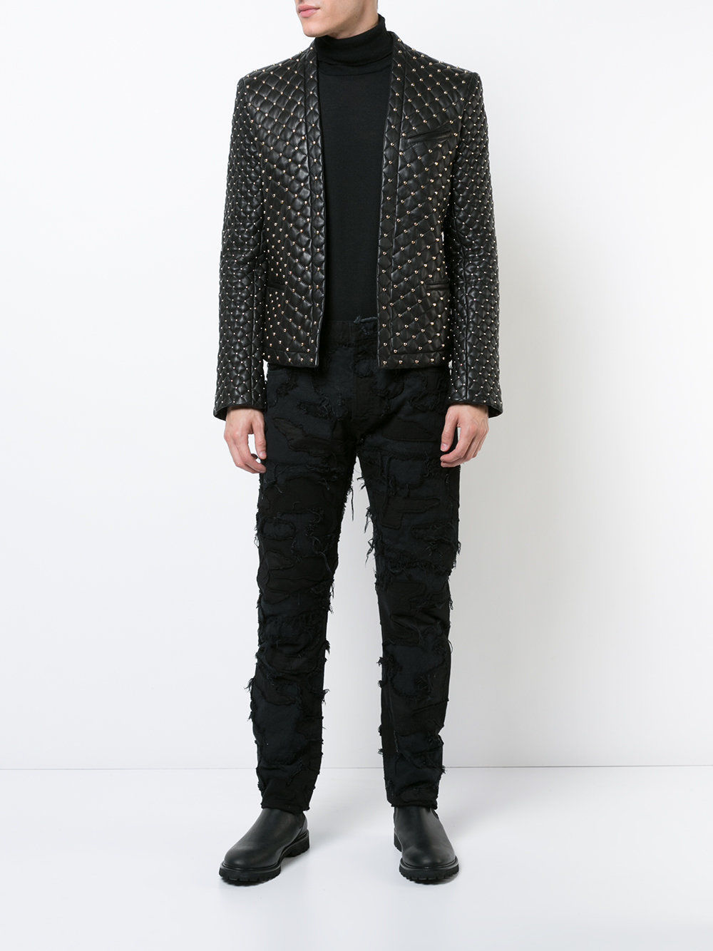 Handmade Balmain Fashion Black Quilted Studded Leather Sport Coat