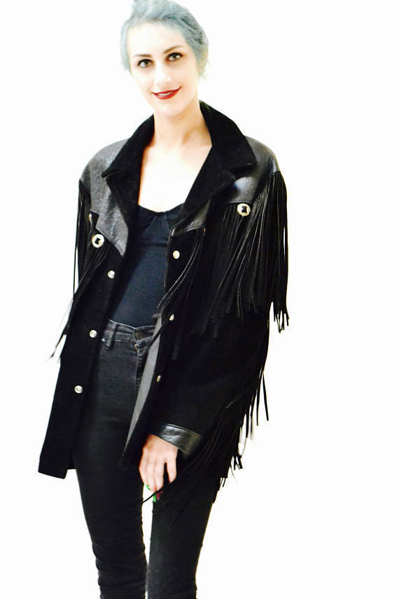 Handmade Women Black Western Leather Jacket Fringe women fashion