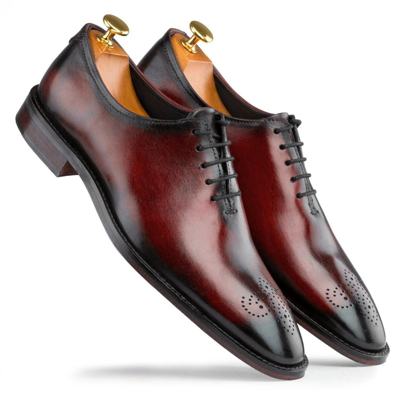 New Handmade Simple Brogues Shaded Burgundy Leather Shoes, Men Dress Shoes, Formal Shoes