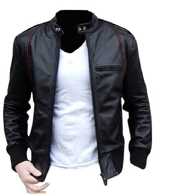 Handmade Custom New Men Black With Red Lining Leather Jacket, Men ...