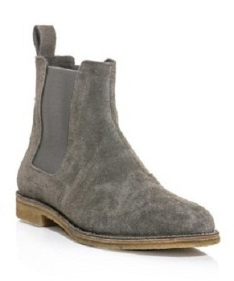 New Handmade Mens Gray Chelsea Suede Leather Boots, Men suede leather boot