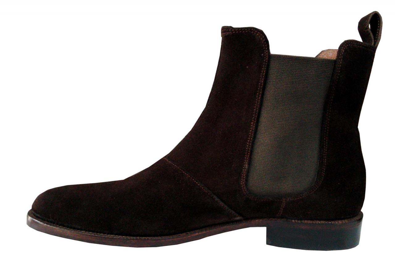 New Handmade Mens Dark Brown Chelsea Suede Leather Boots,Men suede leather boots