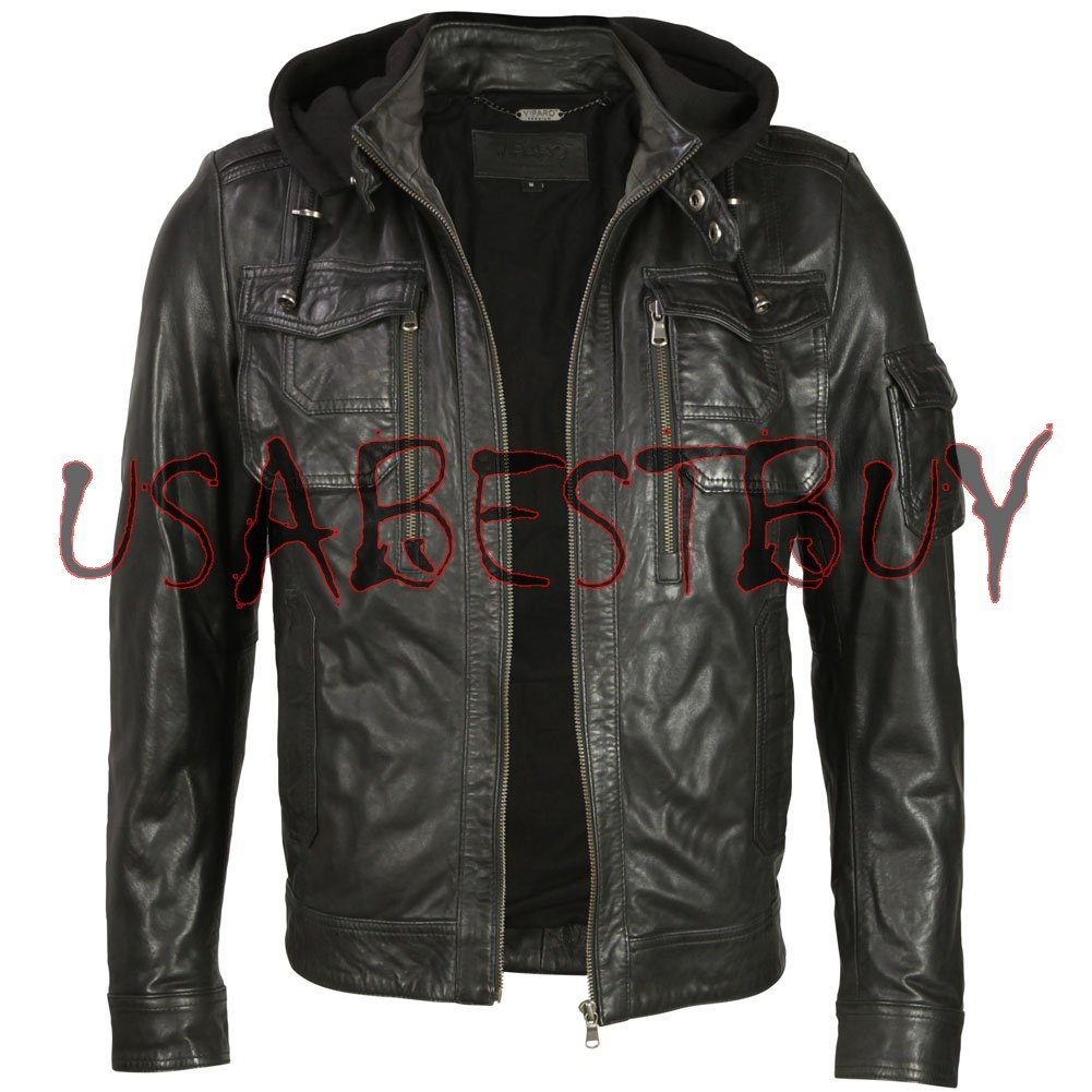 Handmade New Men Stylish Fabric Hooded Biker Leather Jacket, Men leather jacket
