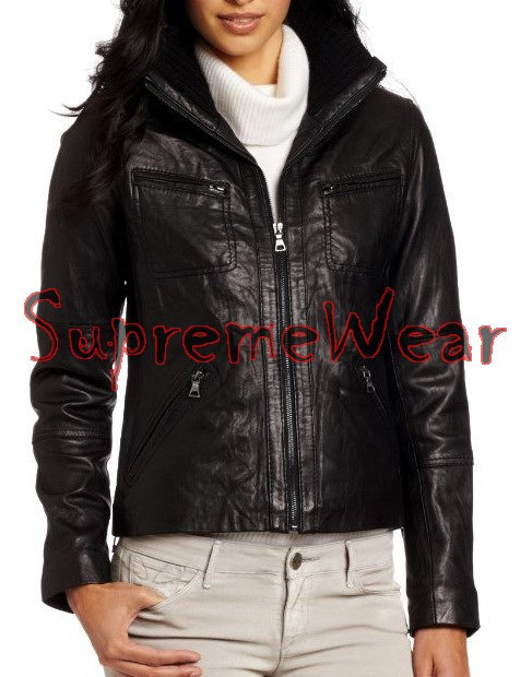 New Handmade Women Simple High Rib Collar Leather Jacket, Women leather jacket,