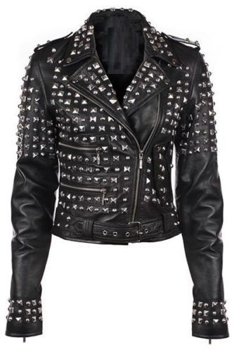 New Handmade Women Black Real Leather Studded Biker Jacket, Hand Fixed Studs
