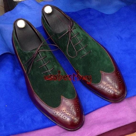 New Handmade Classic Style Real Leather and Suede Dress Shoes, Men Shoes