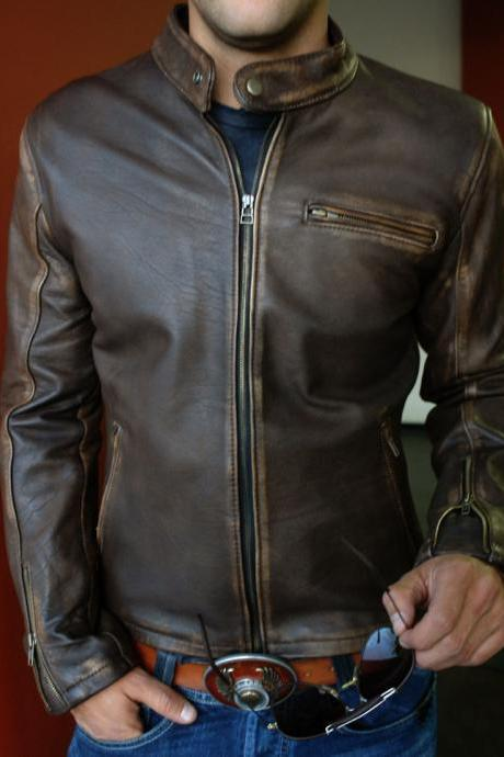 Genuine Leather Jacket Distressed Brown Cafe Vintage Motorcycle Jacket, Rider jacket, Fashion Jacket