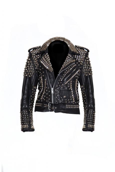 NEW WOMAN BLACK PUNK FULL SILVER STUDDED COWHIDE LEATHER JACKET ALL SIZES