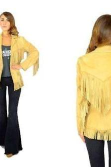 Woman Western Cowboy Leather Jacket Yellow Fringes all Sizes available
