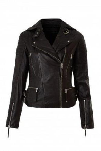 Goatskin Decent and Charming Black Colored Leather Jacket for Women