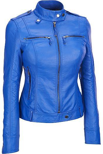 NEW HANDMADE WOMEN BLUE LEATHER JACKET, WOMEN BIKER LEATHER JACKETS