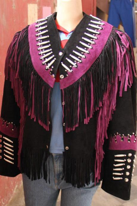 Women western wear Black Suede Leather Jacket with Purple Fringe Bone Beads Work