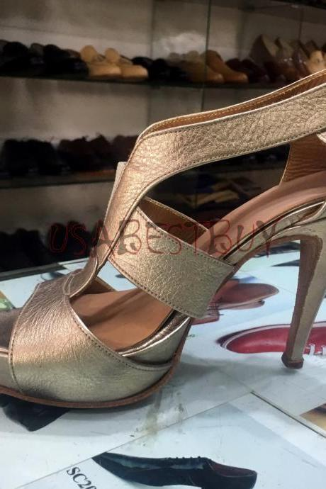 New Handmade Women Elegant Golden Superb Style Leather Shoes with Leather Sole and wooden Heel