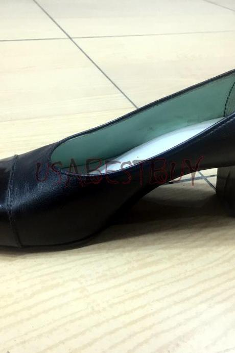 New Handmade Women Cap toe Simple Pumps with Wooden Heel and Leather sole.