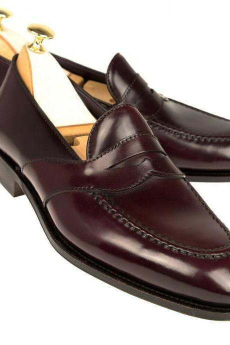 New Handmade Men Simle Classic Penny Loafer Leather Shoes, Men Dress Shoes, Formal Shoes