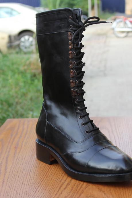 Handmade Men Military Style Combat Leather Boots, Men high leather boots, leather boots for men