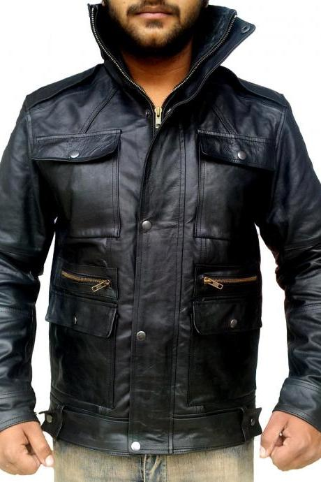 Handmade New Men Front Four Pockets Style Slim Fit Leather Jacket, Men leather
