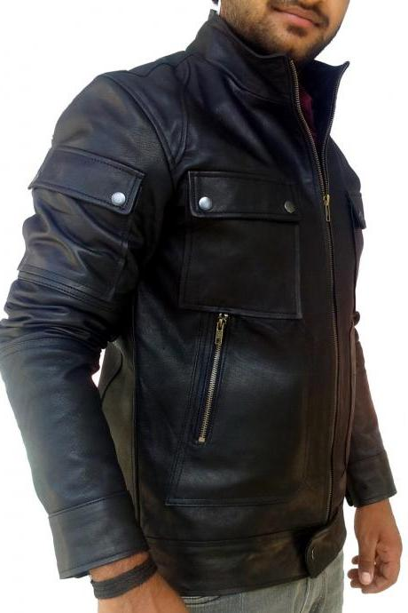 Handmade New Men Superb Strap Pocket Slim Fit Leather Jacket, Men leather jacket