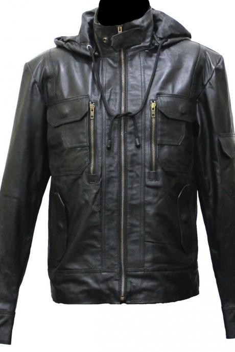 Handmade New Men Stylish Hooded Superb Chic Leather Jacket. Biker Jacket