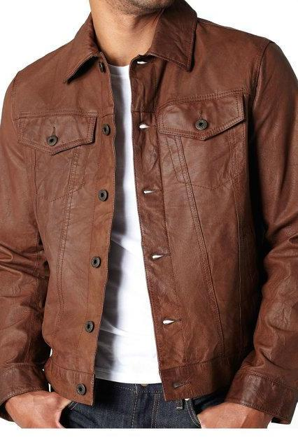 Handmade Men Black Vintage Leather Jacket with Button Closure