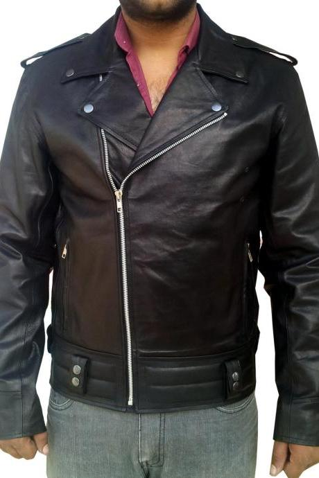 Handmade New Men Brando Style Slim Fit Leather Jacket, Men leather jacket, Leath