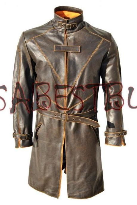 CUSTOM MADE WATCH DOGS AIDEN PEARCE BROWN TRENCH COAT IN COW HIDE LEATHER COA