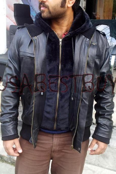 Handmade New Men Latest Hooded Superb Leather Jacket, Men Leather jacket