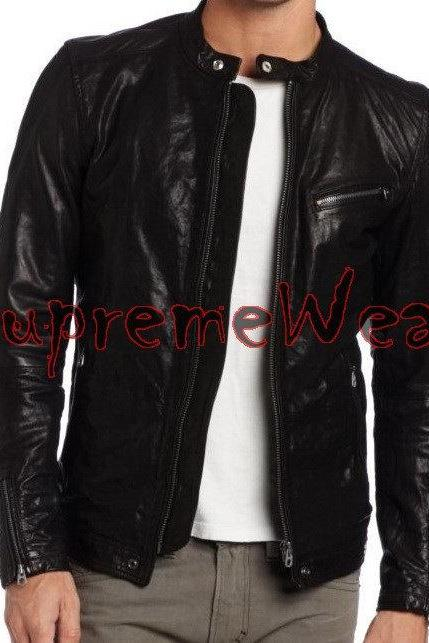 Handmade New Men Latest Buckled Back Leather Jacket, Leather jacket for men, Men