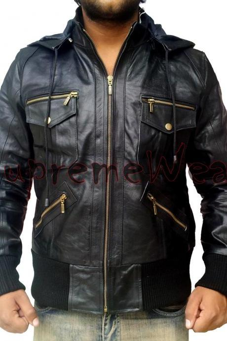 New Handmade Men Stylish Superb Hooded Black Leather Jacket, Leather jacket for