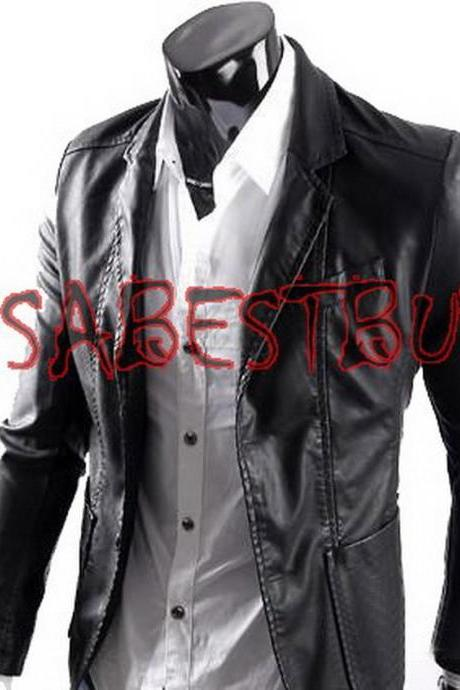 Handmade New Men Stylish Button Closure Front Leather Jacket, Men leather jacket
