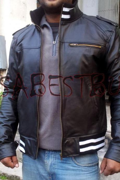 Handmade New Men Latest Ribbed Style Quality Leather Jacket, Men jacket
