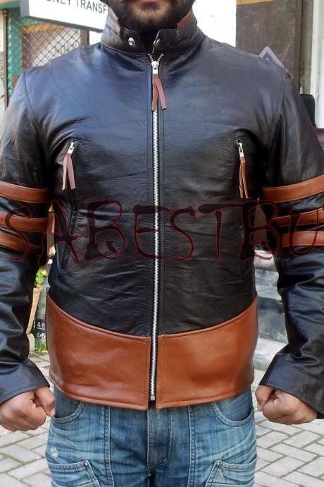 Handmade New Men Stylish XMen Costume Leather Jacket, Men Leather jacket