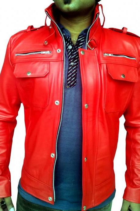 Handmade New Men Bomber Slim Fit Leather Jacket, Men leather jacket, Leather jac