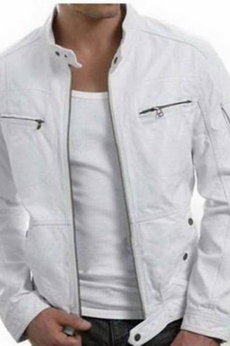 Handmade New Men Stylish Unique White Leather Jacket, Men Leather jacket
