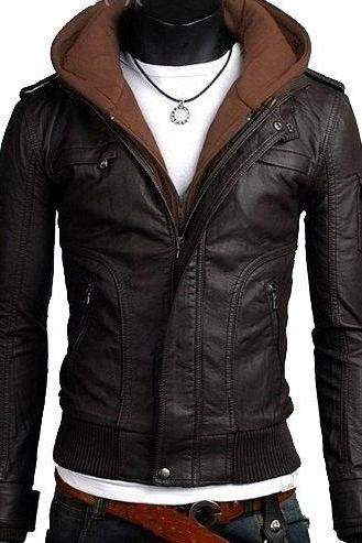 Handmade New Men Stylish Hooded with Brown Leather Jacket, Leather jacket