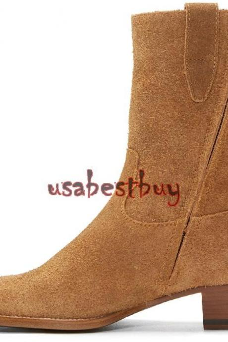 New Handmade Latest Style High Ankle Suede Leather Brown Boots, Men boots