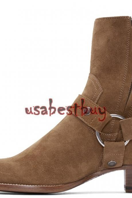 New Handmade Latest Style High Ankle Suede Leather Brown Boots, Men Suede boots