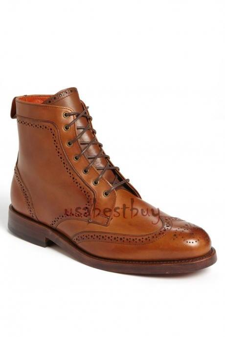 New Handmade Brogue Style Real Leather Ankle Boots, Men Stylish leather boots
