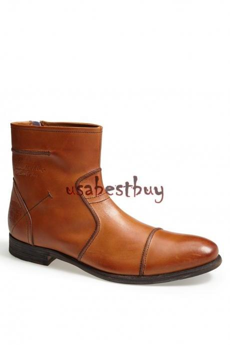 New Handmade Latest Style Simple Brown Leather Ankle Boots, Men leather boots